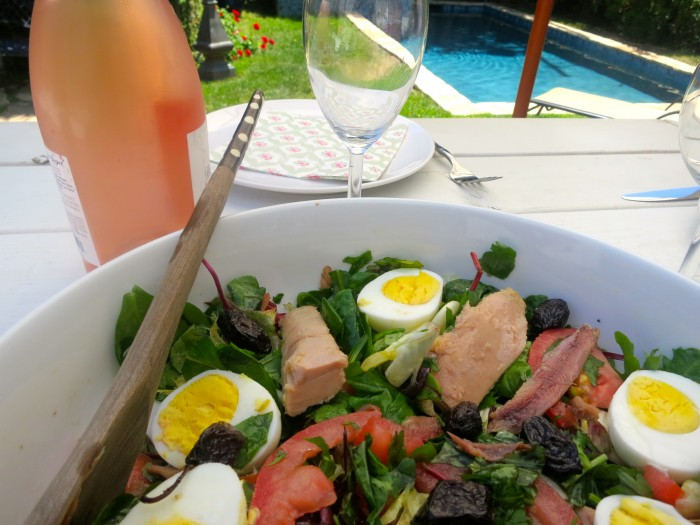 Nicoise salad, Salade nicoise, rosé and swiming pool
